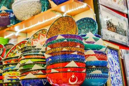 bazaar: Turkish ceramics in a bazaar Stock Photo
