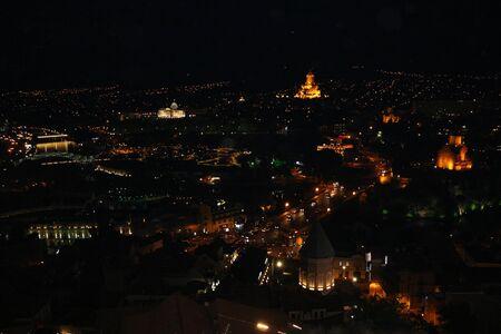 tbilisi: Night panoramic view of Tbilisi in Georgia