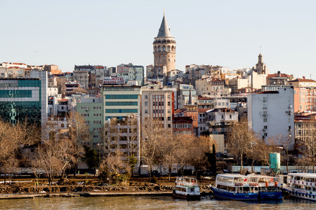 byzantium: View of the Galata Tower from the Golden Horn of Istanbul