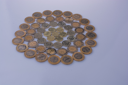 Turkish Lira coins together shape a  round circle form on white background