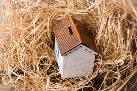 a house with a straw: Little model house places on a straw background Stock Photo