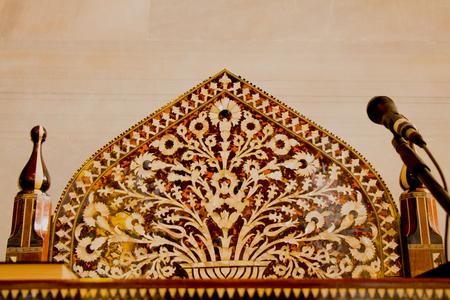 marqueteria: Ejemplo de arte otomano de incrustaciones de madreperla de Estambul Editorial