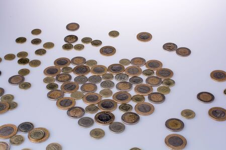 Turkish Lira coins together shape a  heart on white background