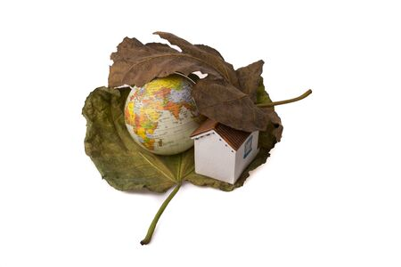Model globe and a little model house  placed between two Autumn leaves Stock Photo