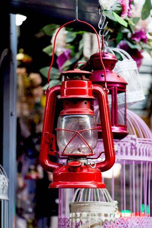 Old retro  style lantern made of metal Stock Photo