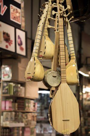 saz: Set of Turkish musical instrument saz in a bazaar