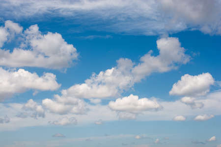 Blue Sky covered with white  and clouds Stock Photo