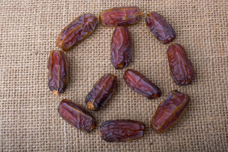 Date fruit form a circle shape on canvas background