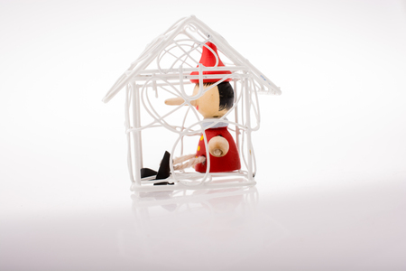 White color model house with pinocchio in Stock Photo