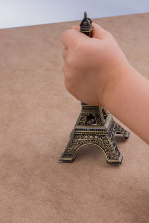 Set of the little model Eiffel Towers Stock Photo