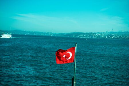 crescent: Turkish national flag hang on a pole in open air Stock Photo