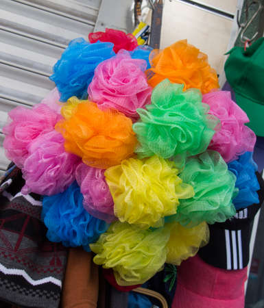 Set of the colorful  pompoms in the bazaar