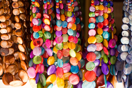 Colorful beads of various color at a market