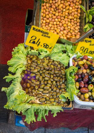 Turkish style prepared olives in the market stands Editöryel
