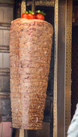 Traditional Turkish Doner Kebab on pole Stock Photo - 85609479
