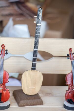 saz: Set of  models of musical instruments made of wood Stock Photo