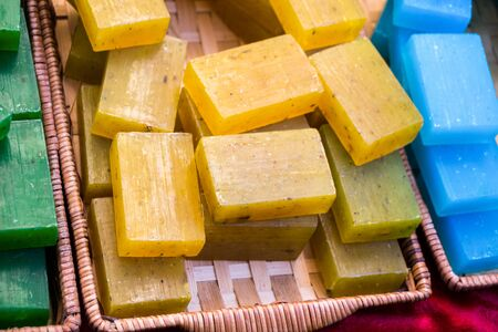 bath: Collection of bars of fragrant hand made organic soap