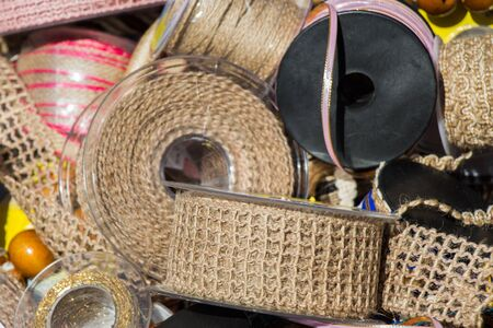 twist: Plenty of spools or rolls of brown color linen string
