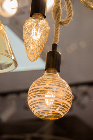 Decorative  style filament light bulbs in view Stock Photo