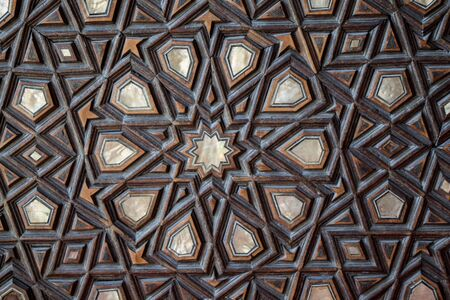 marqueteria: Ejemplo de arte otomano de incrustaciones de madreperla de Estambul Foto de archivo