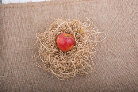 background texture: Apple placed on straw on canvas background Stock Photo
