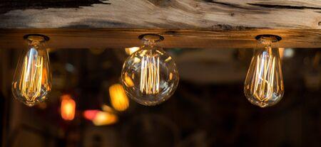 bright: Decorative antique edison style filament light bulbs hanging