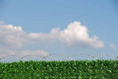 Barbed wire fence used for protection purposes of a property