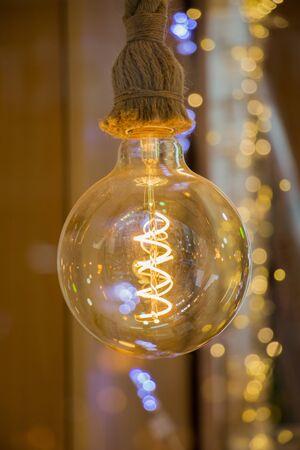 chandelier: Decorative antique edison style filament light bulbs hanging