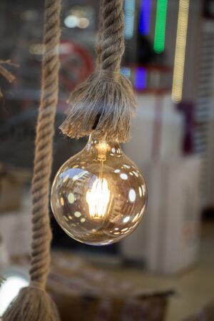 Decorative antique edison style filament light bulbs hanging