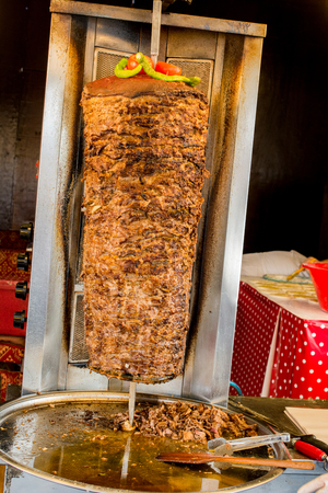 Traditional Turkish Doner Kebab on pole Stock Photo - 92198453