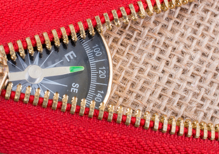 Compass is placed under a red  zipper