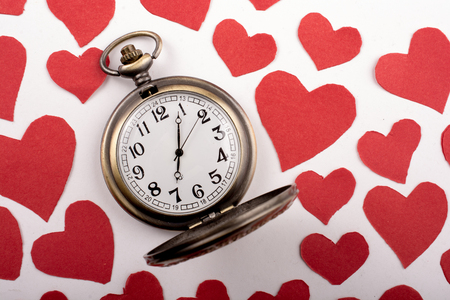 Love concept for valentines day on  retro watch Stock Photo