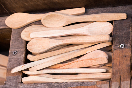 dozens of soup spoon or tablespoon made of wood Banque d'images