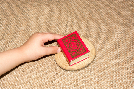 Islamic Holy Book in mini size Quran in hand