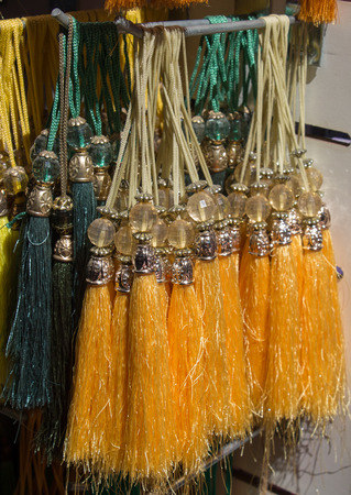 Selection of Ottoman Turkish traditional tassels in various colors Stock Photo