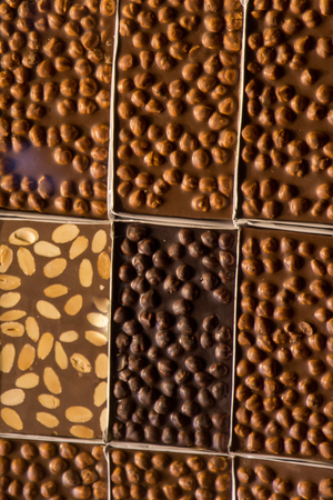 Home made chocolate bars as a background