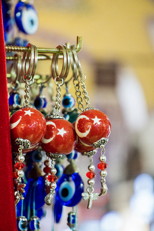 Turkish national  flag drawn a decorative bead in bazaar Stock Photo