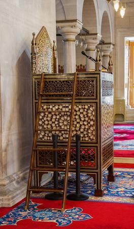 Wooden minbar, sermon pulpit of Ottoman times in mosque