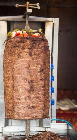 Traditional Turkish Doner Kebab on pole Stock Photo - 99782865