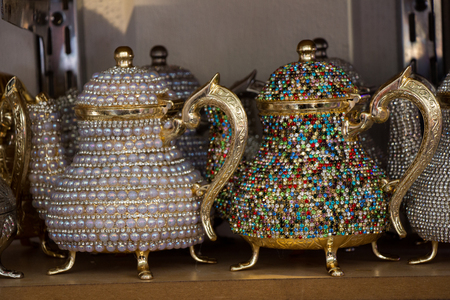 Turkish tea pot made in a traditional style Stock Photo