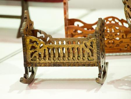 Wooden cradle of Eastern type in view