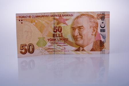 Turksh Lira banknotes of 50 Lira on white background