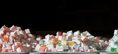 Load of traditional turkish delight rahat lokum 免版税图像