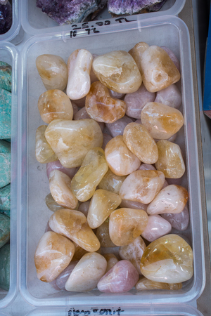 citrine semigem stone as geological mineral rock geode crystals