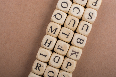 Letter cubes of Alphabet made of wood Stock fotó