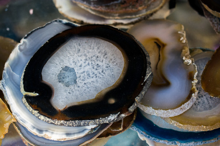 A cross section of Agate gemstone as natural mineral rock