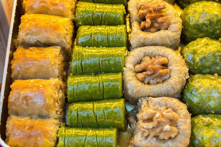 Turkish traditional national desserts Baklava as background