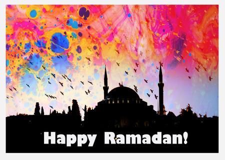 the word Happy Ramadan written beside a mosque image