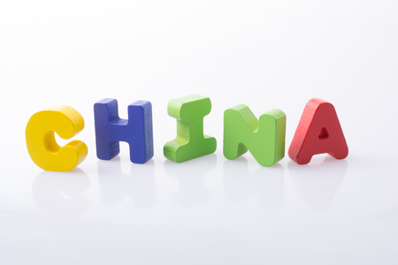 the word China  written with colorful letter blocks