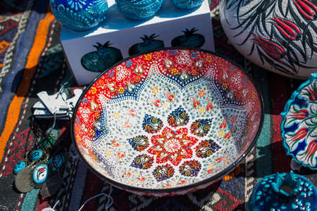 Traditional Turkish ceramic plates in bazaar Stock Photo